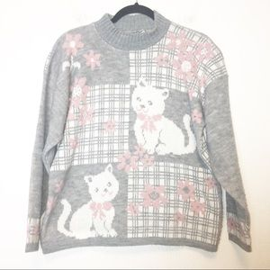 Vintage Gray and Pink Cat Floral Mock Neck Sweater